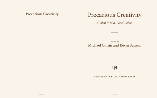 epub of Precarious Creativity