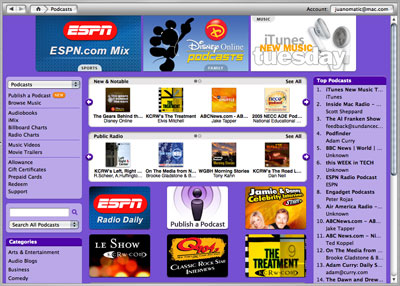 Apple's Podcast Directory, July 2005
