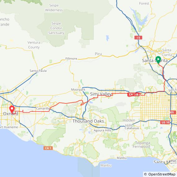 Map showing a bike 57-mile bike ride