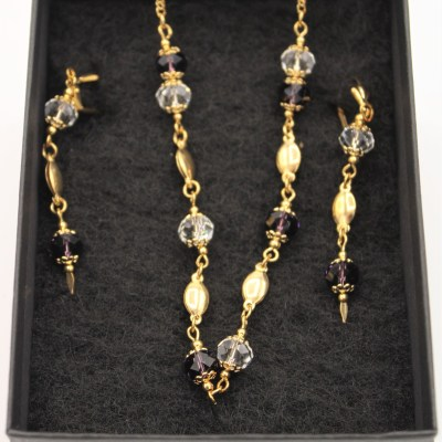 18KGF Beaded Necklace & Earring Set