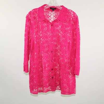 Notations Pink Lace Button Up Shirt | 2X