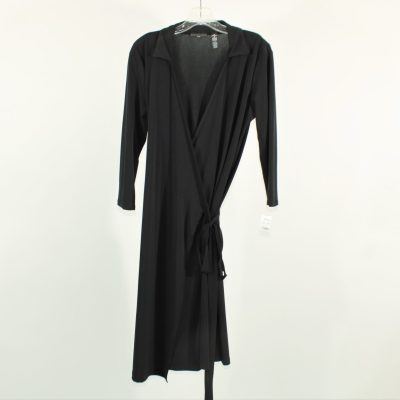 Apostrophe Black Wrap Dress | M Petite