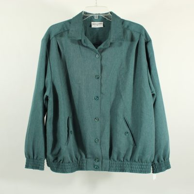 Alfred Dunner Blue Green Button Down Jacket | Size 16