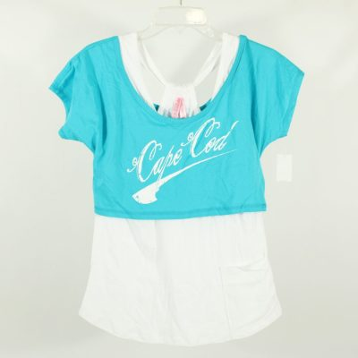 NEW Cape Cod Blue Off-The-Shoulder Layered Top | XL