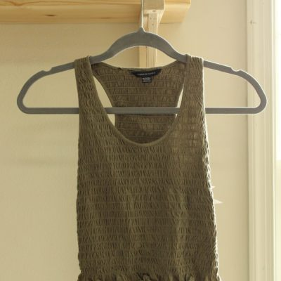 American Eagle Olive Green Smocked Tank | Size XS