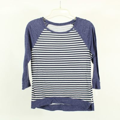 American Eagle Outfitters Blue Striped Baseball Tee | Size XS