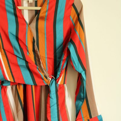 NEW Sandy & Sid Colorful Striped Wrap Dress | Size L