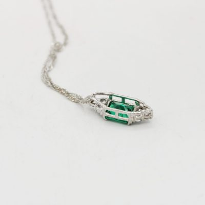 Gold Coast Platinum Plated Green Stone Necklace