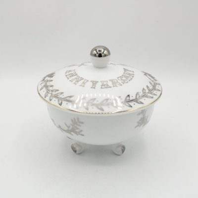 Vintage Lefton 25th Anniversary White and Silver Covered Dish W/ Lid