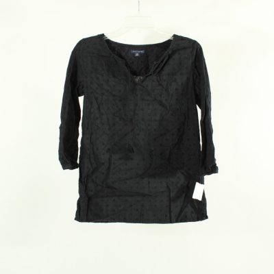Tommy Hilfiger Black Swiss Dot Peasant Top | Size XS
