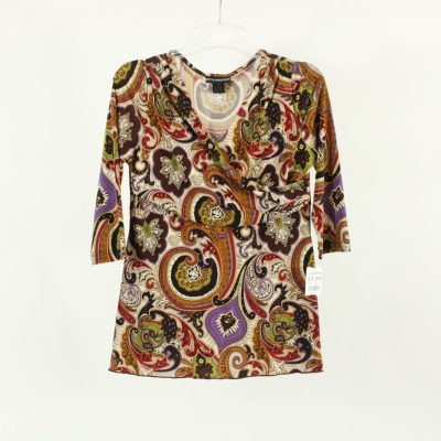 Petite Sophisticate Colorful Paisley Top | Size XS
