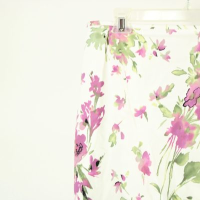 White & Purple Floral Skirt | Size 14