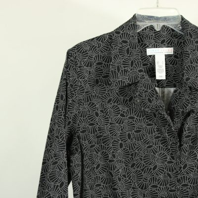 First Issue Liz Claiborne Black Patterned Jacket | Size XL