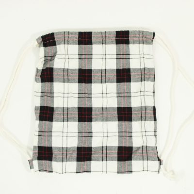 Plaid Drawstring Bag