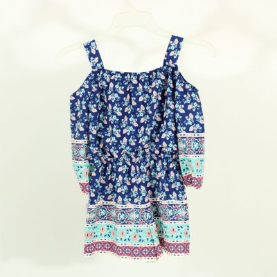 Michelle Girls Blue Patterned Romper | Size S (5/6)