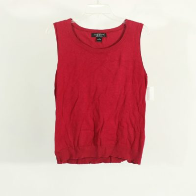 August Silk Red Knit Top | Size L