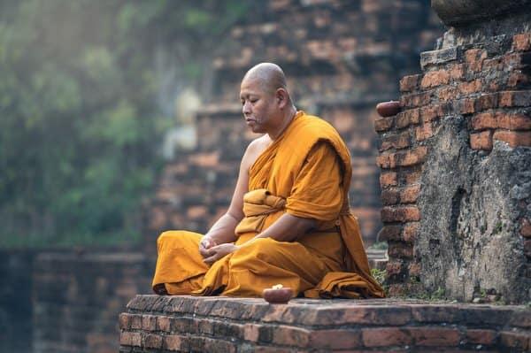 mindfulness meditation at midlife+buddhist monk