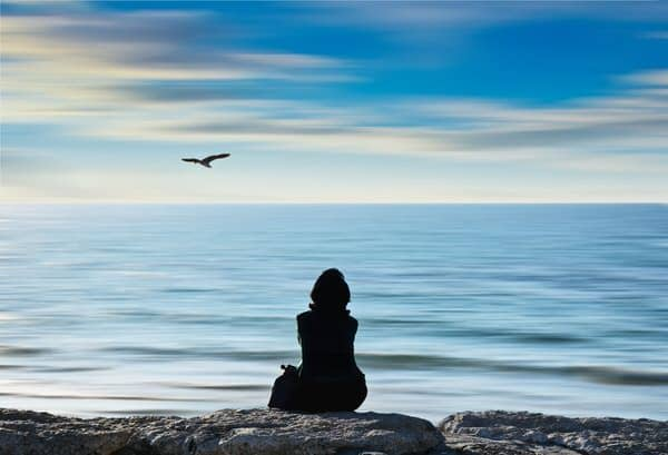 combat loneliness+woman-sea-bird