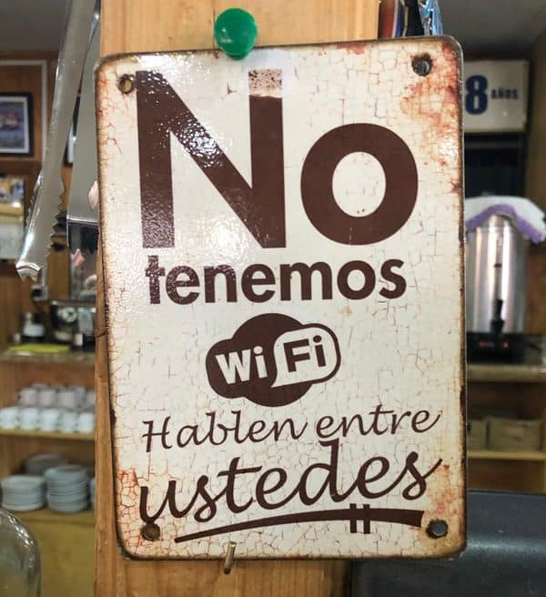 vacation with adult kids+no-wifi-sign