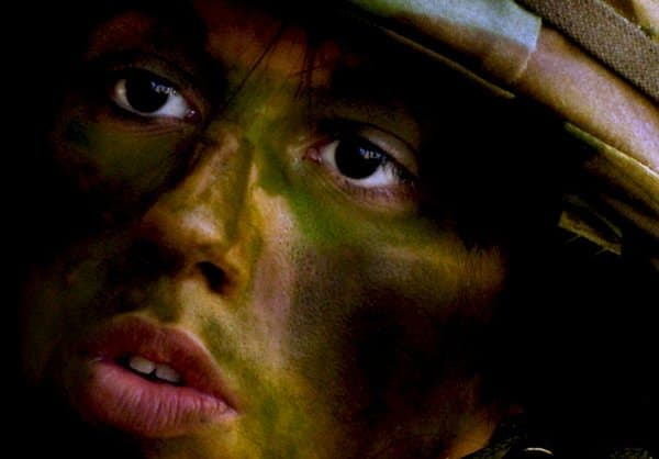 female vets with PTSD+woman-soldier-close-up