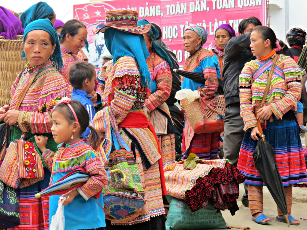 Hmong Women at the Market place in Vietnam