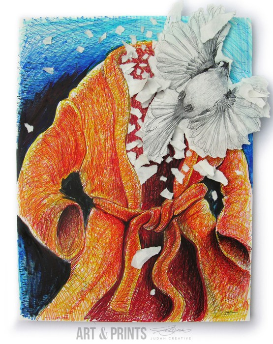 Frightened Titmouse Flying Out of a Bathrobe Dreams by Judah Fansler. Mixed Media - marker, sharpie, ink pens, chalk pastel, hand made paper