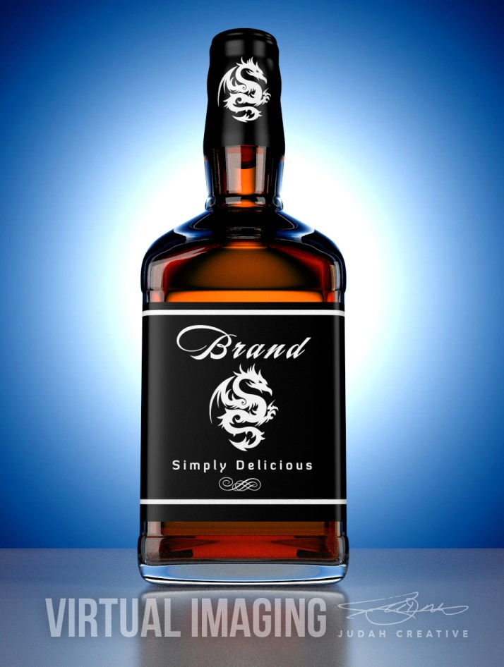 3D Render Test of a Whiskey Bottle by Judah Creative