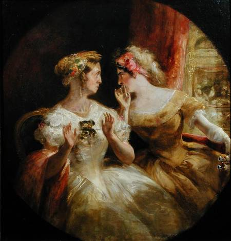 VFS109732 Ladies Gossiping at the Opera (oil on canvas) by Barnard, Frederick (1846-1896) (attr. to) oil on canvas 39.3x37.4 Private Collection English, out of copyright