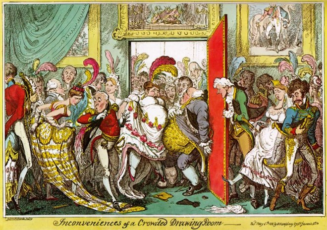 http://commons.wikimedia.org/wiki/File:G-Cruikshank-Inconveniences-Crowded-Drawing-Room-1818.jpg