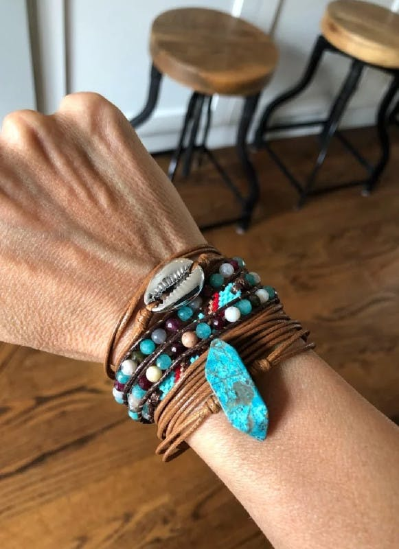 Ocean Golden Shell - leather stranded Wrap Bracelet