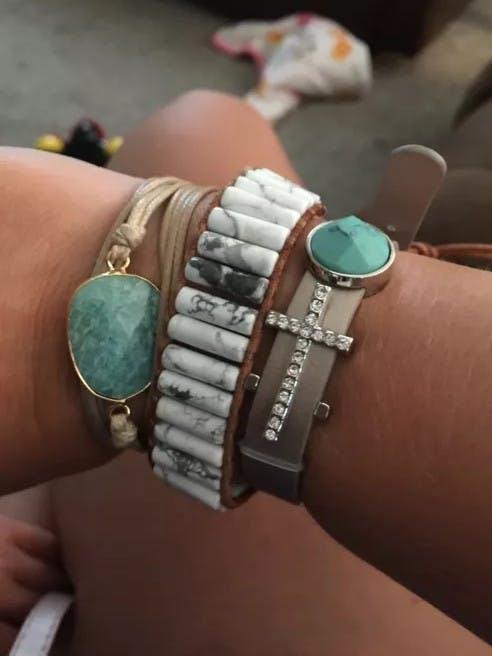 Snow Fall - Hand Made Single Leather Wrap Beaded Bracelet