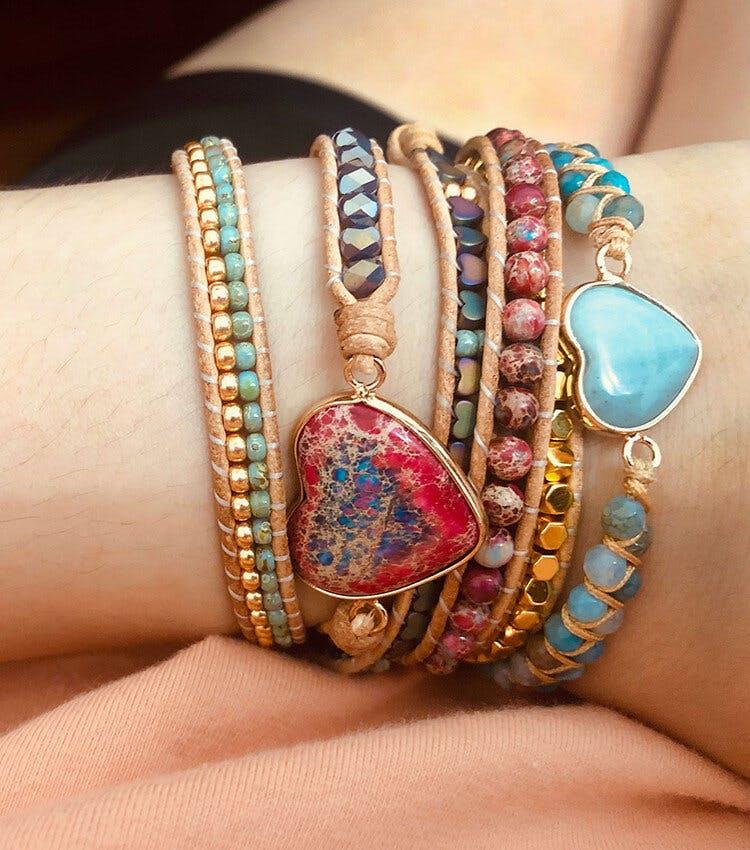 Heart Fancy - Bohemian Leather Wrap Bracelet