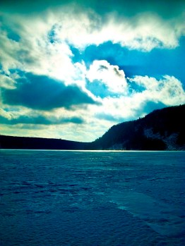 frozen lake clouds