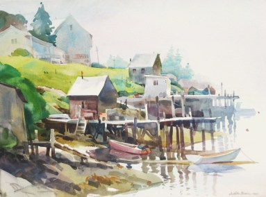 Early Morning Fog - 22x30 - watercolor - $950