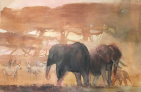 Elephants and Zebras - 25x40 - watercolor - $650