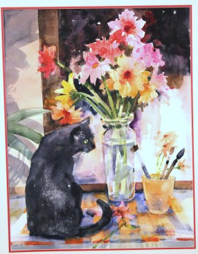 Sam and Flowers - 22x15 - watercolor - $295