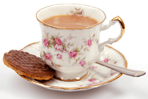 Tea in a china cup and a McVitie's biscuit.