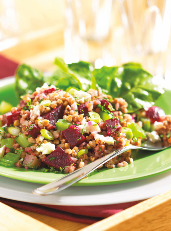 Kasha and Beet Salad with Celery and Feta