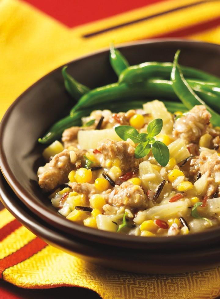 Sausage- Spiked Peas 'n' Rice