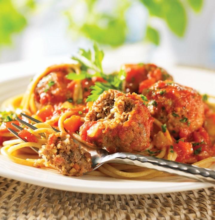 Whole Grain Spaghetti with Bulgur-Laced Meatballs