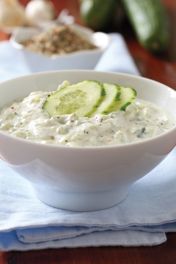 Greek yogurt sauce with cucumbers, dill and garlic, known as tarator or snezhanka in Bulgaria or zaziki in Turkey. Shallow DOF