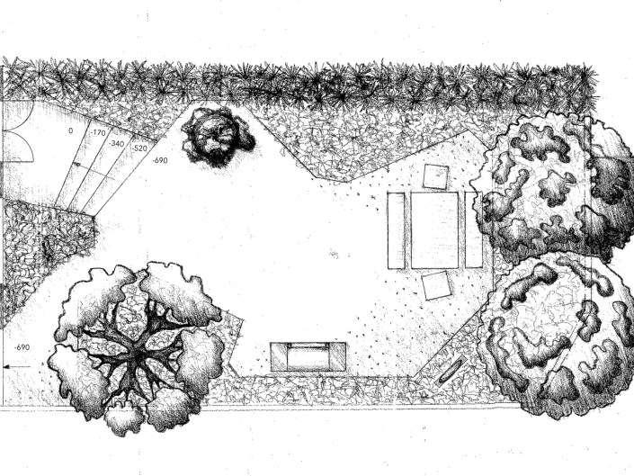 Small North facing London garden hand rendered master plan