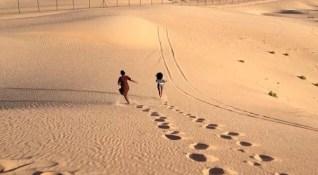 Running down the dune...