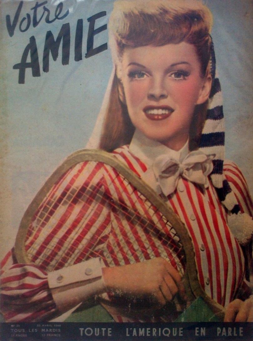 April 22, 1946, Votre Amie cover art with Judy Garland