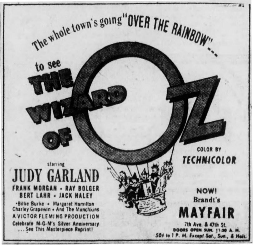 "April 17, 1949, ad for the first re-release of ""The Wizard of Oz"""