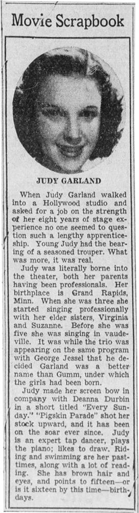 Movie Scrapbook Judy Garland April 19, 1939