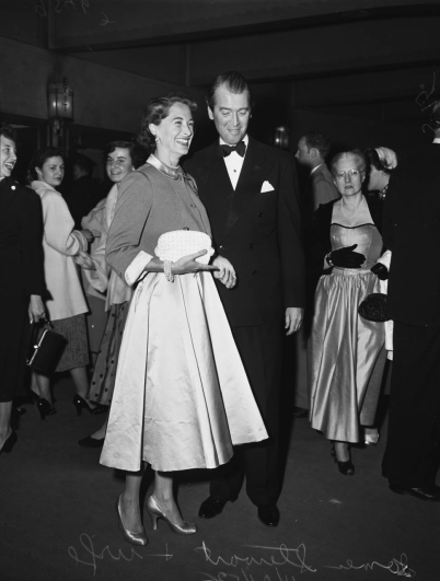 Jimmy Stewart and his wife arrive at Judy Garland's opening at the Los Angeles Philharmonic April 21, 1952