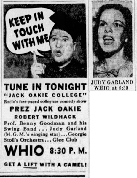 Judy Garland on Jack Oakie's College radio show April 27, 1937