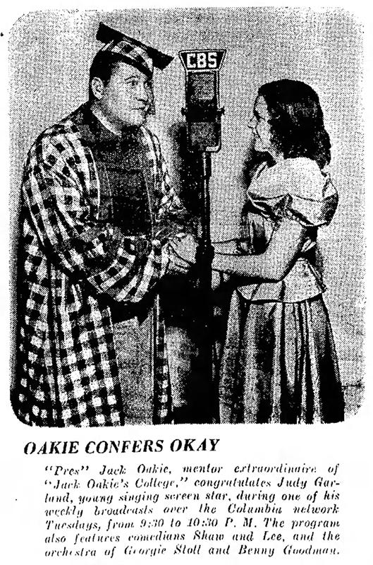 "Judy Garland on jack Oakie's ""Jack Oakie's College"" radio show 1937"