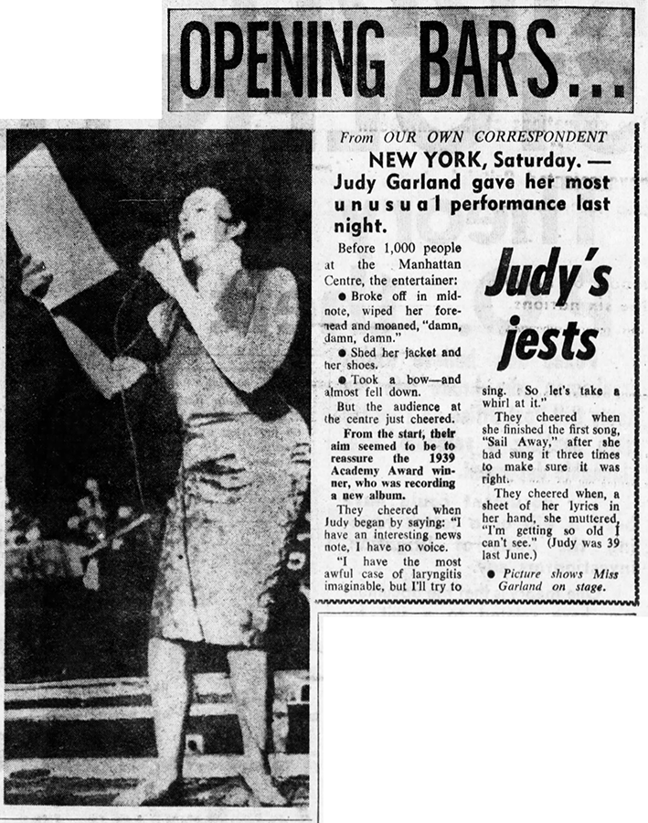 "Judy Garland at New York's Manhattan Center recording for the unreleased lP ""Judy Takes Broadway"""